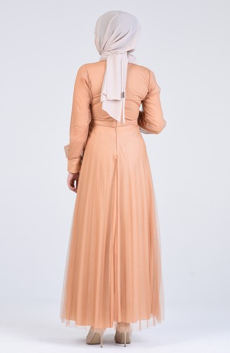 Gathered Tulle Evening Dress 7676-02 Beige 7676-02