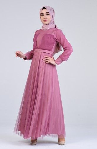 Gathered Tulle Evening Dress 7676-03 Dry Rose 7676-03