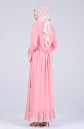 Büzgülü Elbise 7620-01 Pudra