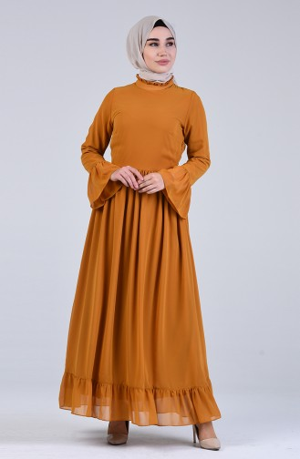 Gathered Dress 7620-05 Mustard 7620-05