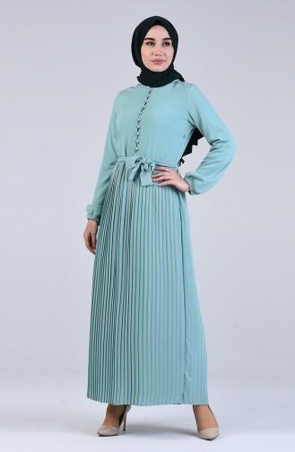 Buttoned Gathered Dress 7624-05 Mint Green 7624-05