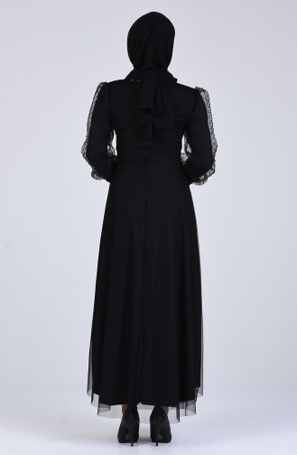 Kolu Tül Detaylı Elbise 7675-01 Siyah