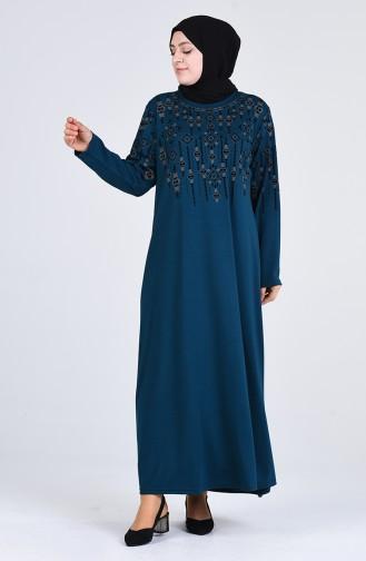 Oil Blue İslamitische Jurk 4896-03