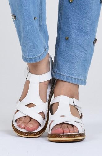 White Summer Sandals 0201-01