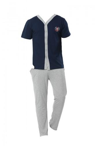 Dunkelblau Pyjama 6536-01