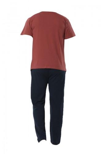 Erkek Kısa Kollu Pijama Takımı 6537-01 Kiremit