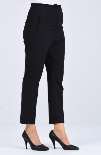 Pocket Detailed Straight Leg Pants 1746-02 Black 1746-02
