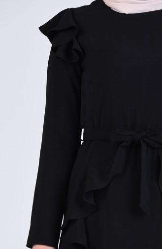 Fırfırlı Kuşaklı Elbise 5018-01 Siyah
