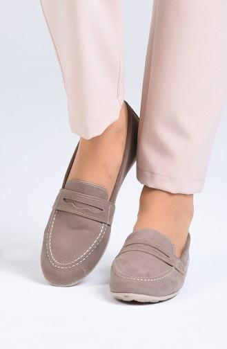 حذاء مسطح بني مائل للرمادي 0404-02