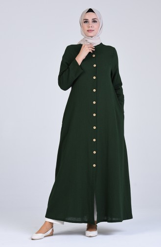 Şile Bezi Düğmeli Ferace 12204-04 Yeşil