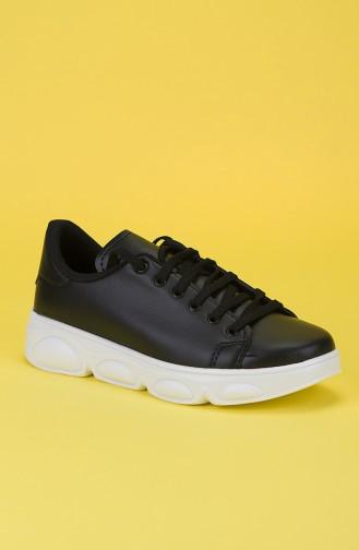 Bayan Spor Ayakkabı MDR11-01 Siyah Beyaz Taban