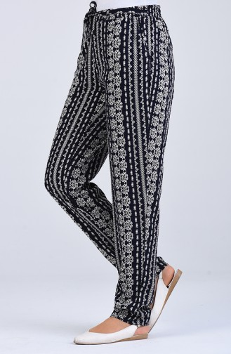 Patterned Viscose Trousers 1191-23 Navy Blue 1191-23