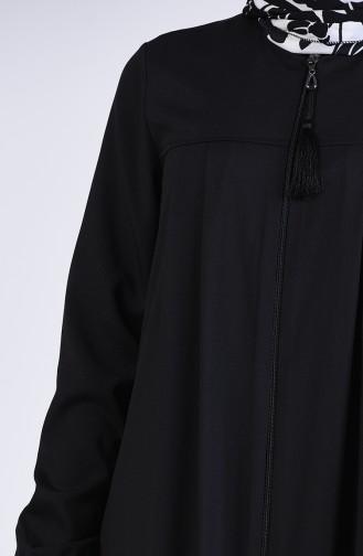 Fermuarlı Pileli Ferace 3964-01 Siyah