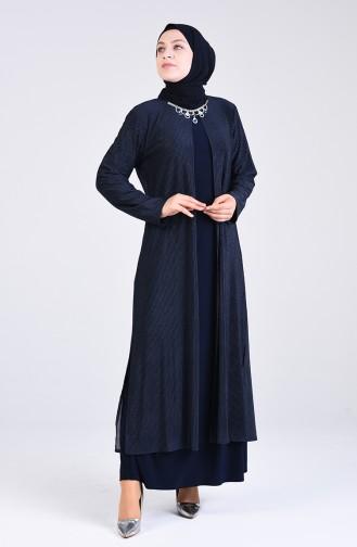 Navy Blue İslamitische Avondjurk 4254-01