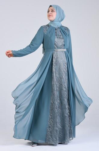 فساتين سهرة بتصميم اسلامي أخضر 1318-01