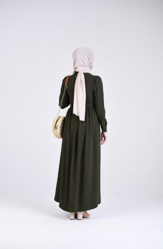 Dark Khaki İslamitische Jurk 5644-07