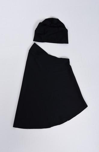 Maillot de Bain Hijab Noir 1008-01
