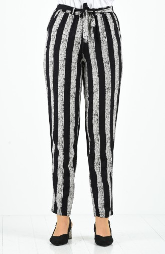 Patterned Viscose Trousers 1191-13 Black 1191-13