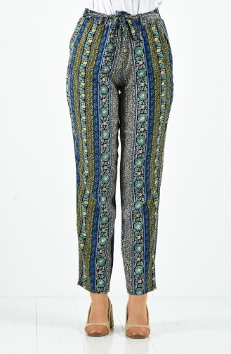 Patterned Viscose Trousers 1191-28 Saxe Blue 1191-28