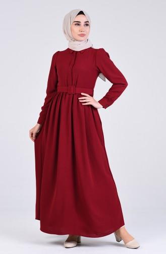 Aerobin Kumaş Kemerli Elbise 5644-04 Bordo