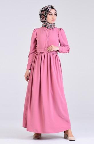 Aerobin Kumaş Kemerli Elbise 5644-06 Pudra