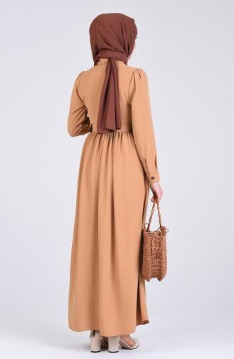 Aerobin Kumaş Kemerli Elbise 5644-08 Vizon