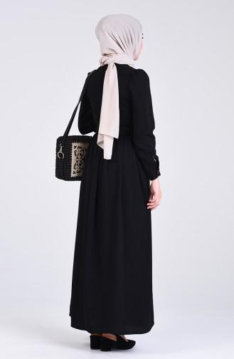 Aerobin Kumaş Kemerli Elbise 5644-10 Siyah