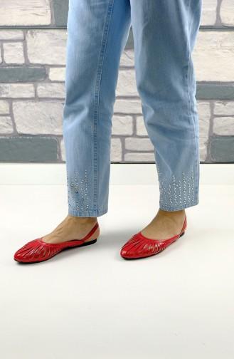 حذاء مسطح أحمر 2237-07
