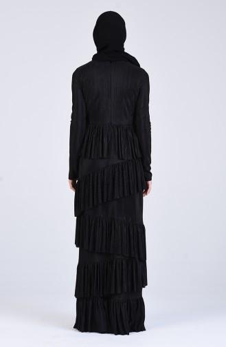 Büzgülü Abiye Elbise 60155A-01 Siyah