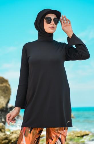 Schwarz Hijab Badeanzug 20187-02