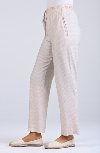 Striped wide-leg Trousers 0161-08 Cream 0161-08