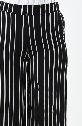 Striped Viscose Trousers 1190-02 Black 1190-02