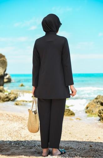Schwarz Hijab Badeanzug 20133-02