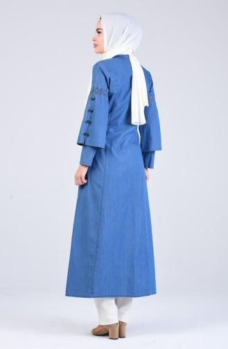 Fermuarlı Kot Ferace 9277-01 Kot Mavi