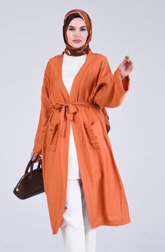 Kimono Kol Cepli Hırka 5301-07 Taba