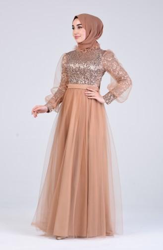 Gold Hijab-Abendkleider 4824-02