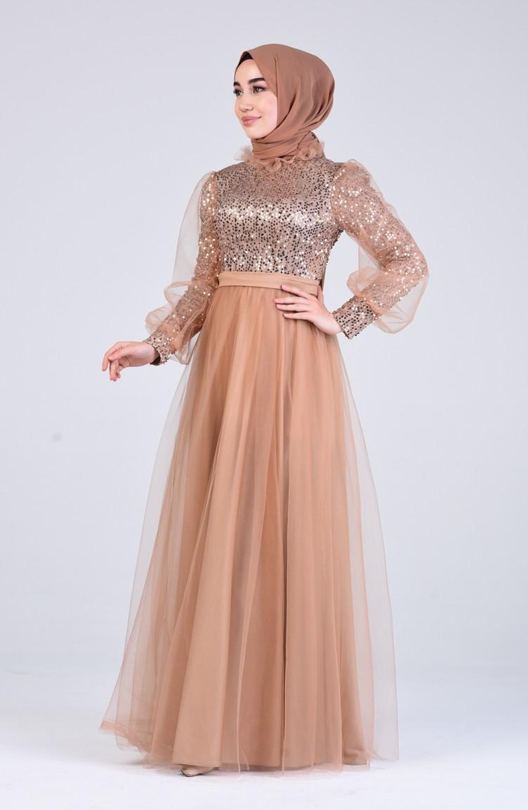 Gold Hijab-Abendkleider 13-13
