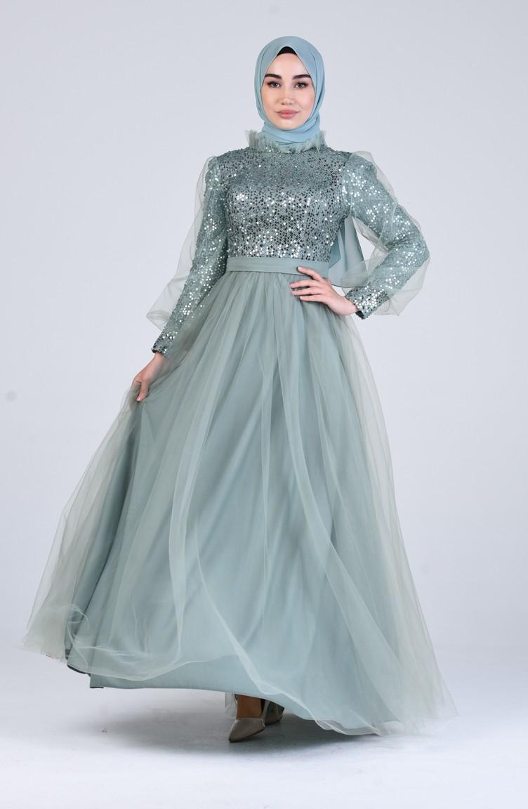 Grün Hijab-Abendkleider 13-13