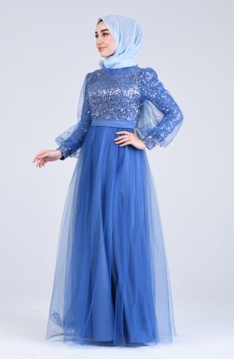 Indigo Hijab-Abendkleider 4824-04