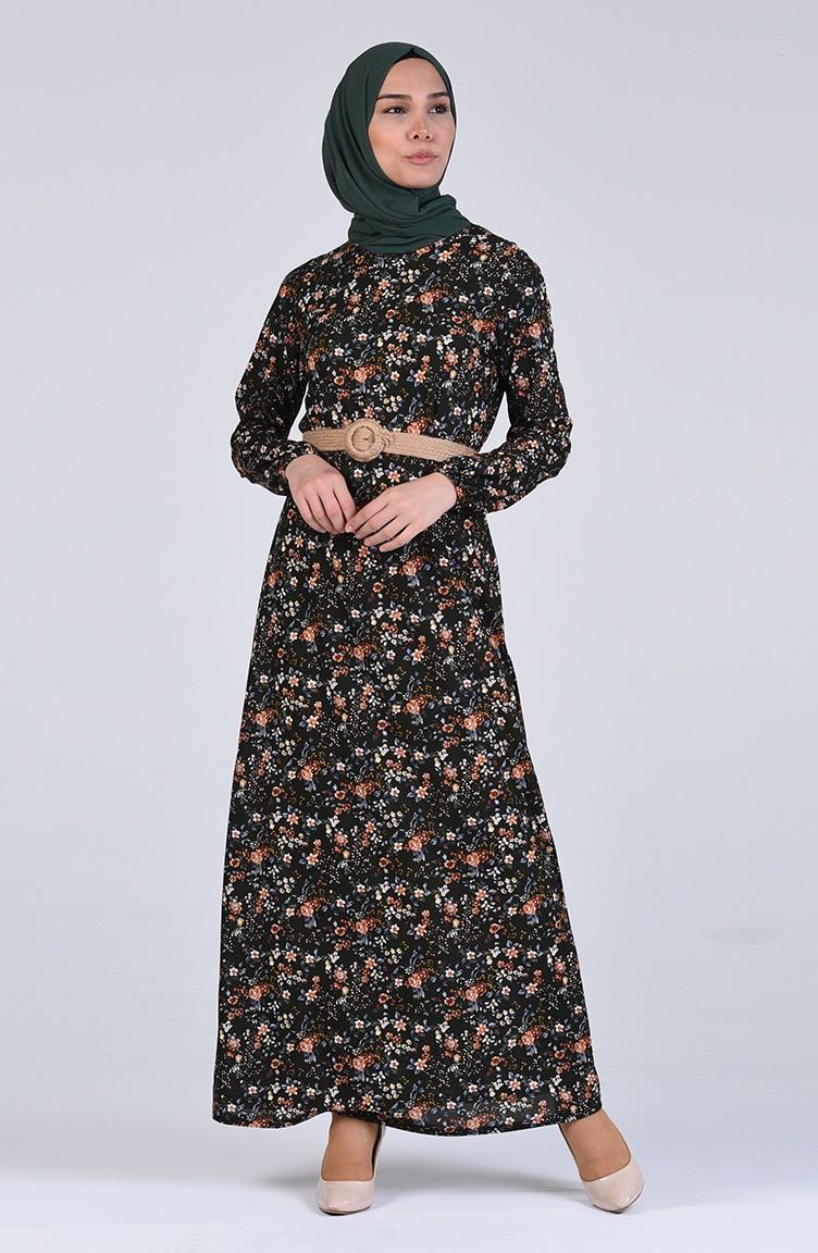 sefamerve tesettur elbise cavene8874 05 5438471593596476868 1 Dark Green Dress 8874-05