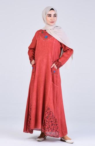 Robe Hijab Couleur brique 9595-08