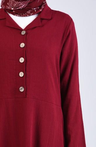 Şile Bezi Düğmeli Elbise 12205-04 Bordo 12205-04