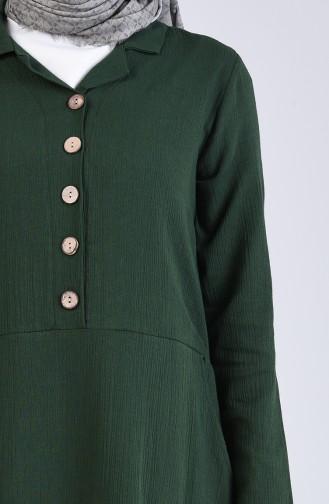 Robe Hijab Vert Foncé 12205-05