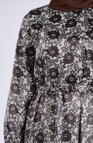 Çiçek Desenli Elbise 2159-02 Kahverengi
