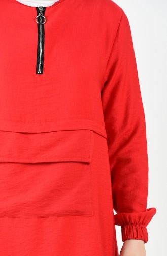 Büyük Beden Kanguru Cepli Tunik 1516-01 Kırmızı