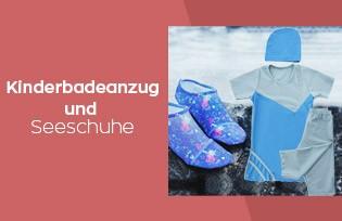 Kinderbadebekleidung und Seeschuhe