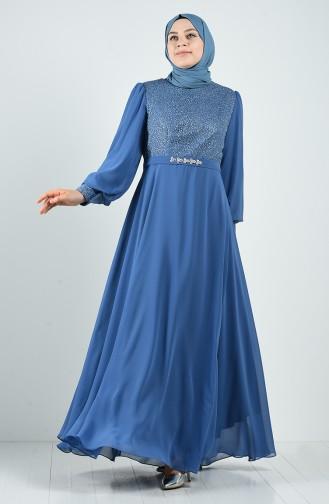 Indigo İslamitische Avondjurk 1321-02