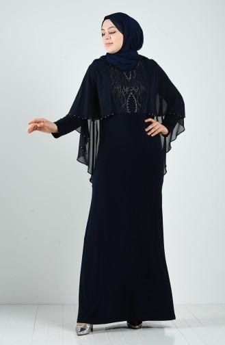 Plus Size Stone Evening Dress 3156-03 Navy Blue 3156-03