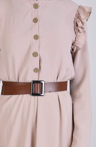 Kemerli Fırfırlı Elbise 8019-06 Bej