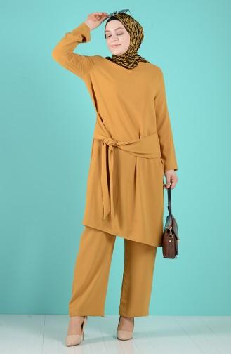 Büyük Beden Kuşaklı Tunik Pantolon İkili Takım 1505-03 Yağ Yeşili